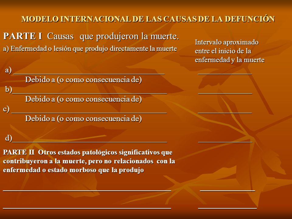 MODELO INTERNACIONAL DE LAS CAUSAS DE LA DEFUNCIÓN