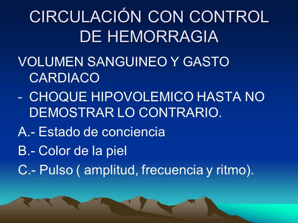 CIRCULACIÓN CON CONTROL DE HEMORRAGIA