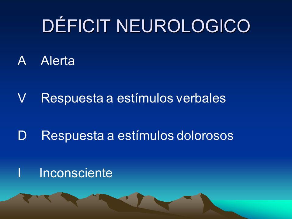 DÉFICIT NEUROLOGICO A Alerta V Respuesta a estímulos verbales