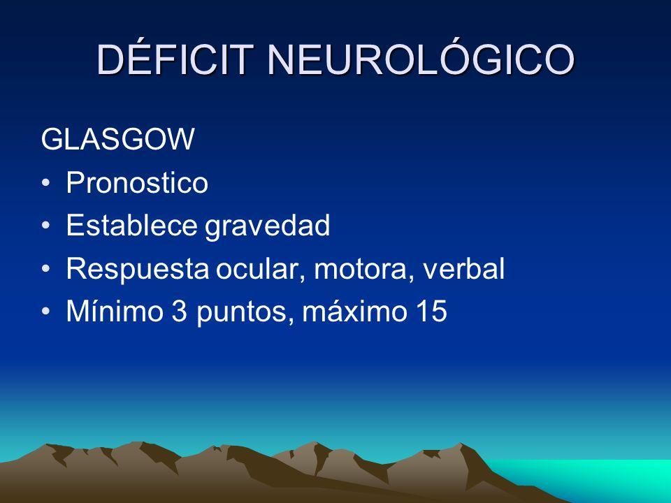 DÉFICIT NEUROLÓGICO GLASGOW Pronostico Establece gravedad
