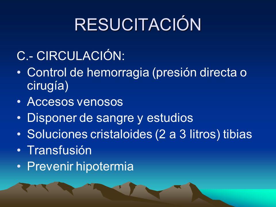 RESUCITACIÓN C.- CIRCULACIÓN: