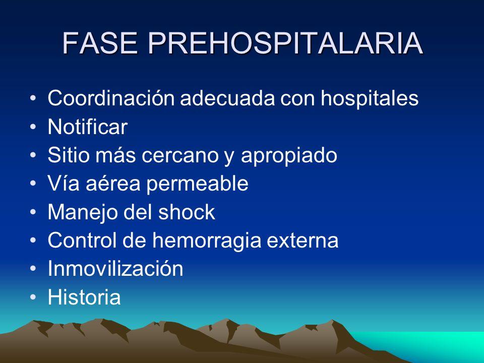 FASE PREHOSPITALARIA Coordinación adecuada con hospitales Notificar