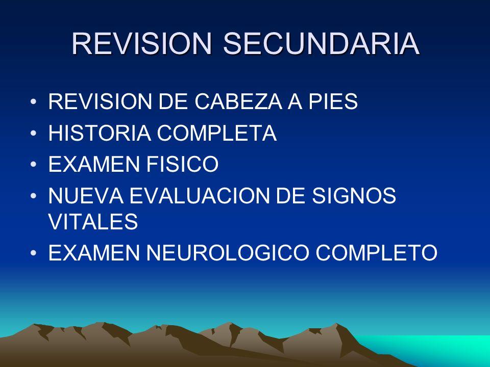 REVISION SECUNDARIA REVISION DE CABEZA A PIES HISTORIA COMPLETA