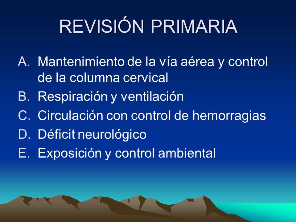 REVISIÓN PRIMARIA Mantenimiento de la vía aérea y control de la columna cervical. Respiración y ventilación.
