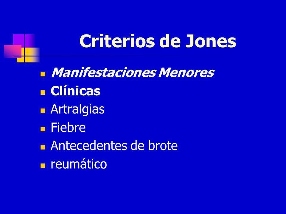 Criterios de Jones Manifestaciones Menores Clínicas Artralgias Fiebre