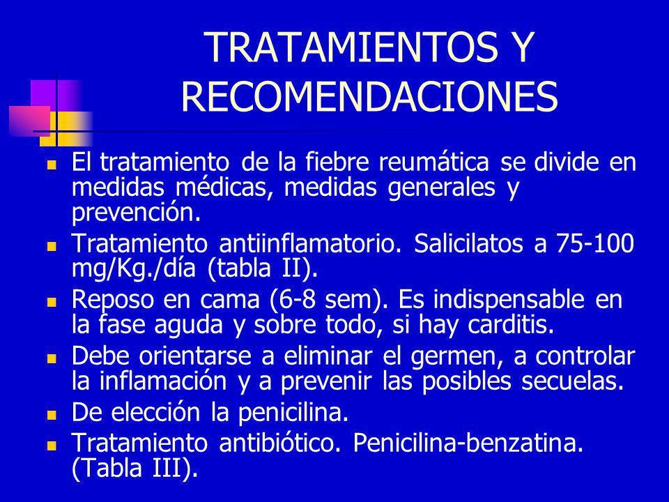 TRATAMIENTOS Y RECOMENDACIONES