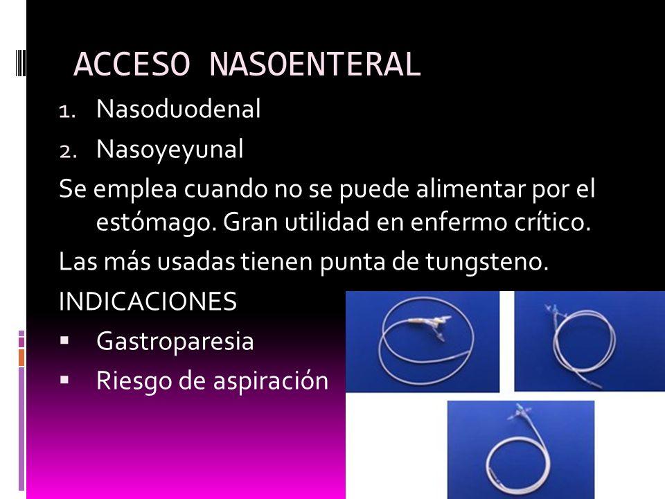 ACCESO NASOENTERAL Nasoduodenal Nasoyeyunal