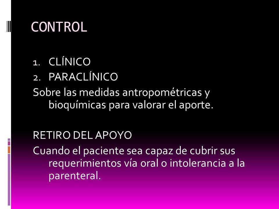 CONTROL CLÍNICO PARACLÍNICO