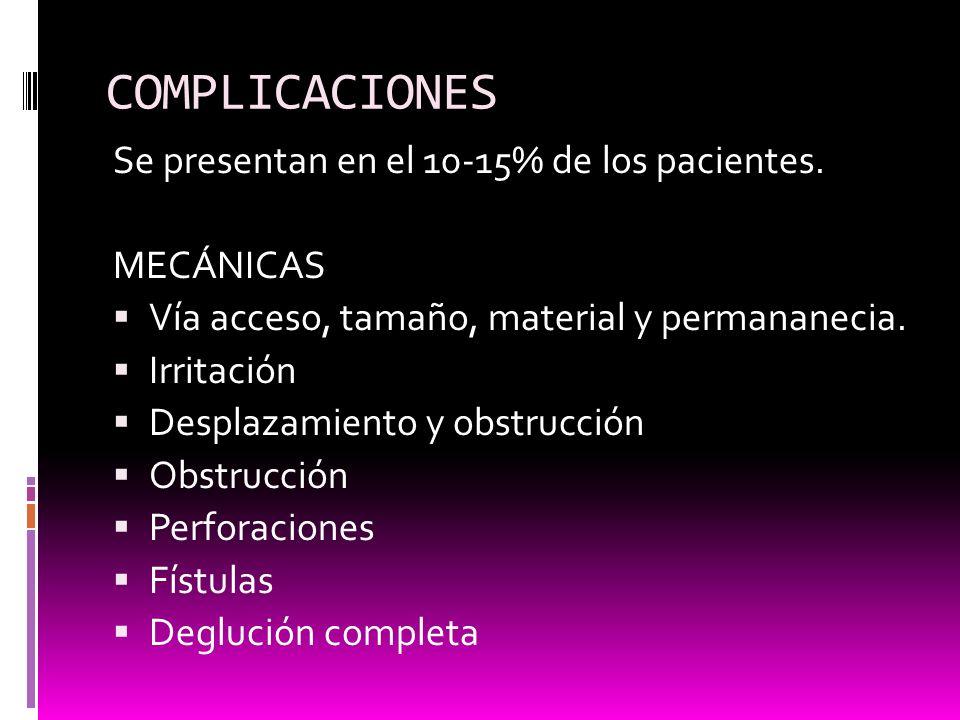 COMPLICACIONES Se presentan en el 10-15% de los pacientes. MECÁNICAS