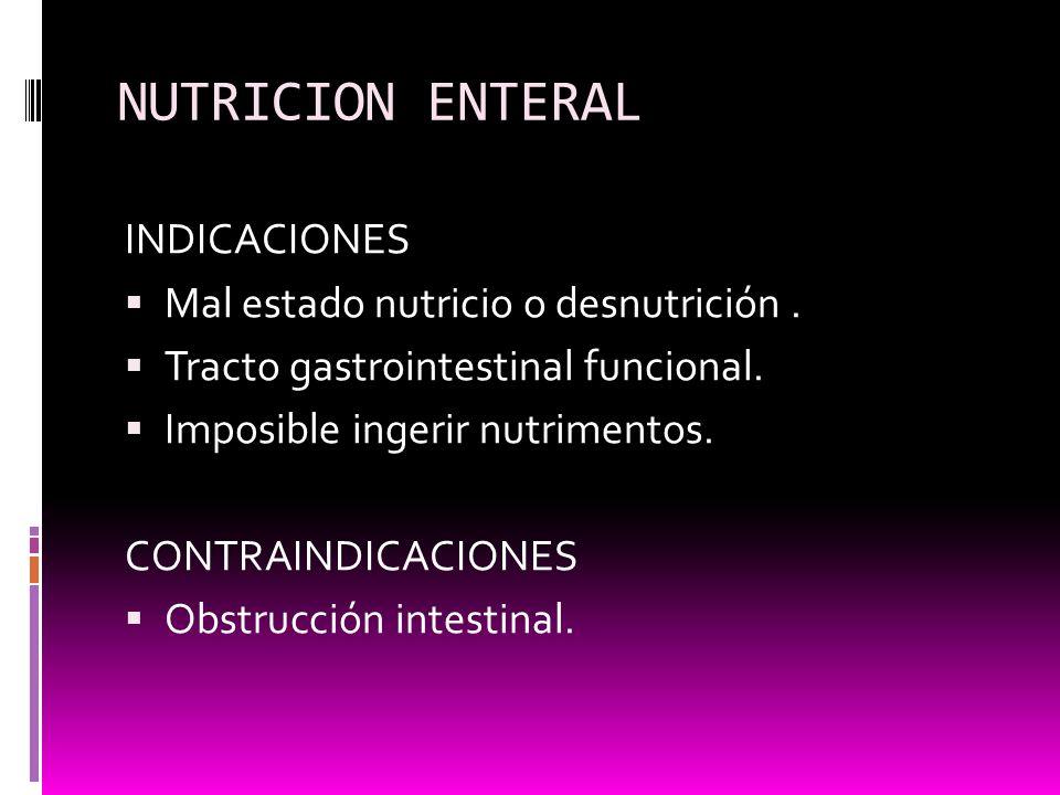 NUTRICION ENTERAL INDICACIONES Mal estado nutricio o desnutrición .