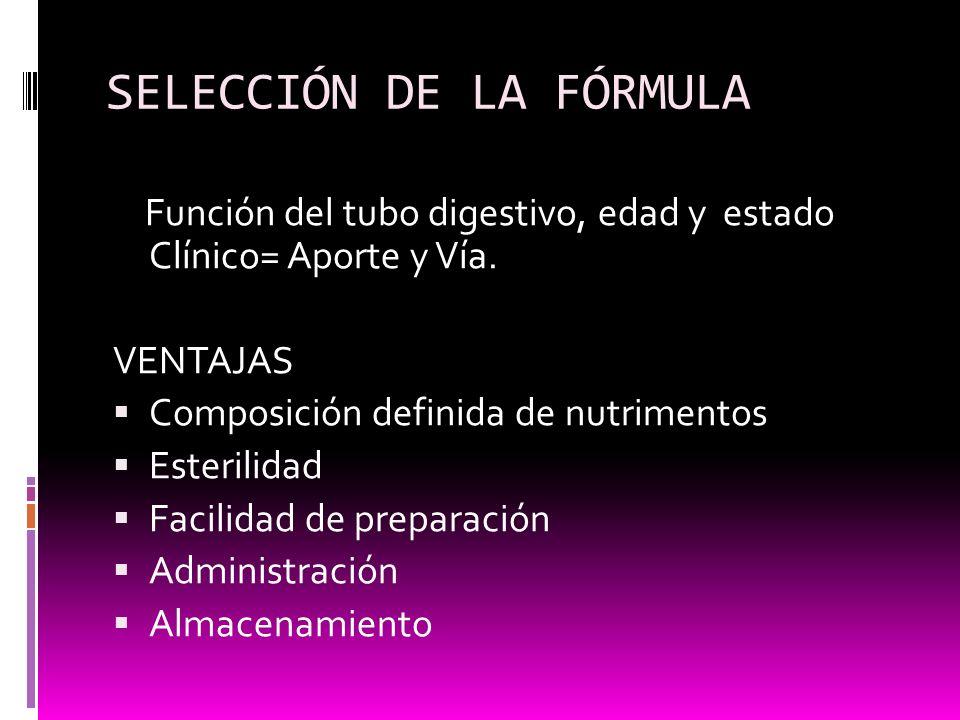 SELECCIÓN DE LA FÓRMULA