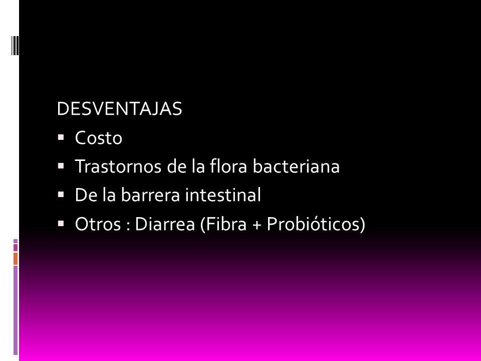 DESVENTAJAS Costo. Trastornos de la flora bacteriana.