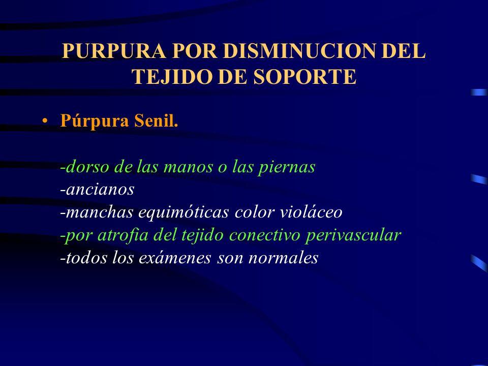 PURPURA POR DISMINUCION DEL TEJIDO DE SOPORTE