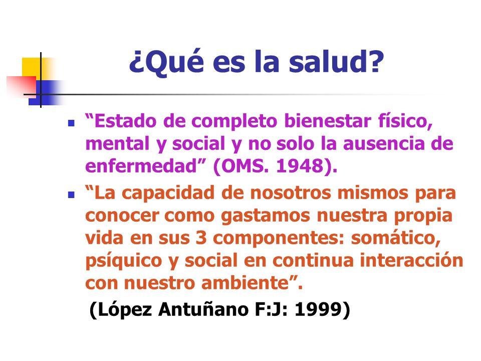¿Qué es la salud Estado de completo bienestar físico, mental y social y no solo la ausencia de enfermedad (OMS. 1948).