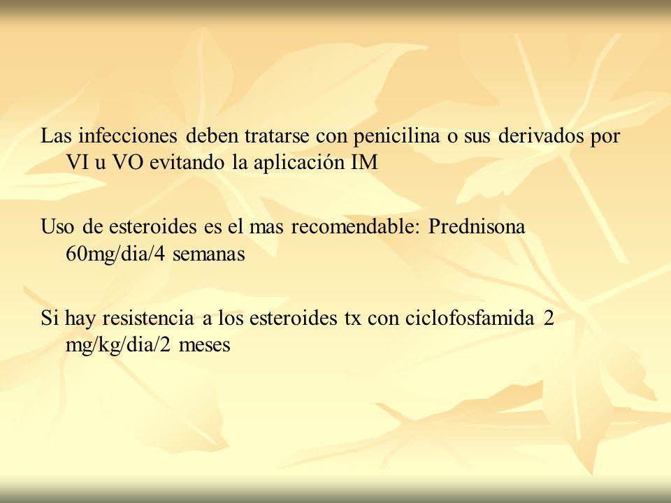 Las infecciones deben tratarse con penicilina o sus derivados por VI u VO evitando la aplicación IM