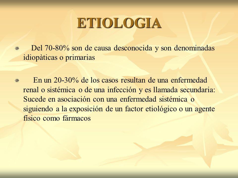 ETIOLOGIADel 70-80% son de causa desconocida y son denominadas idiopàticas o primarias.