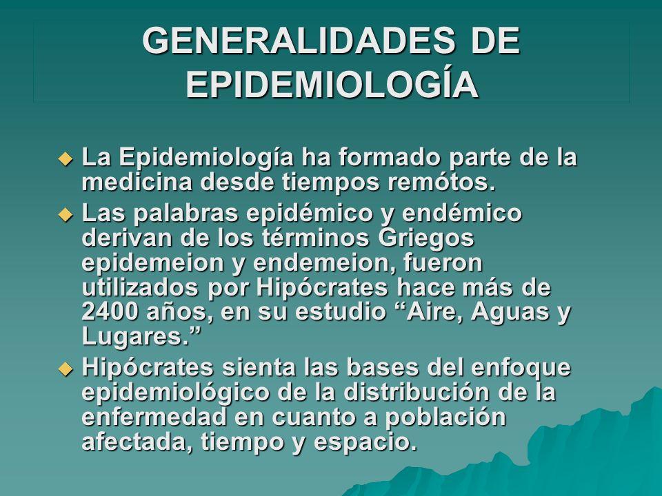 GENERALIDADES DE EPIDEMIOLOGÍA