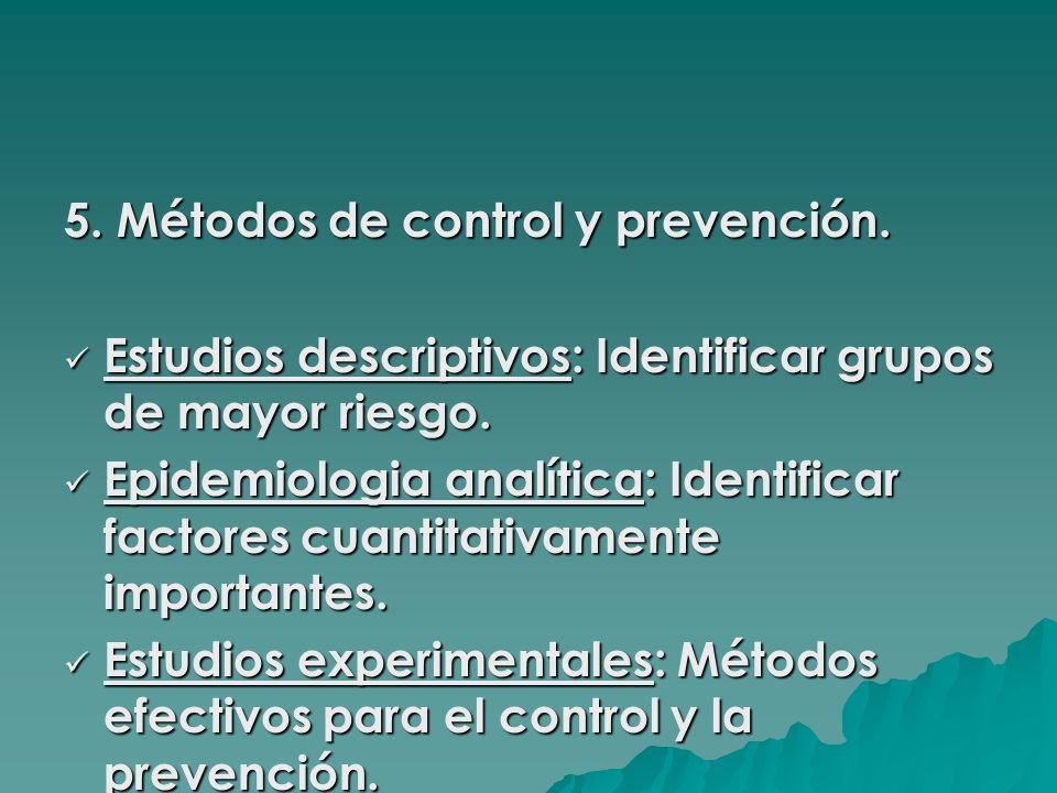 5. Métodos de control y prevención.