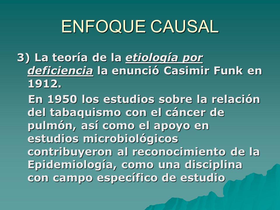 ENFOQUE CAUSAL3) La teoría de la etiología por deficiencia la enunció Casimir Funk en 1912.