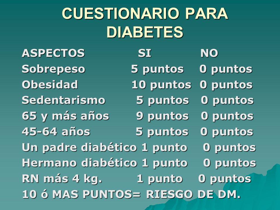 CUESTIONARIO PARA DIABETES