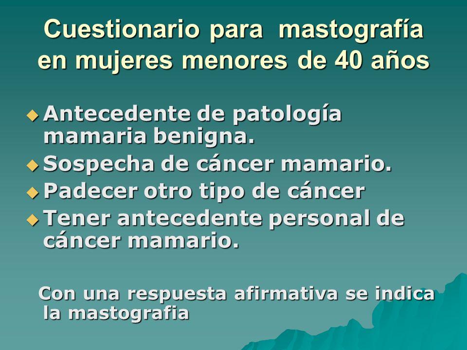 Cuestionario para mastografía en mujeres menores de 40 años