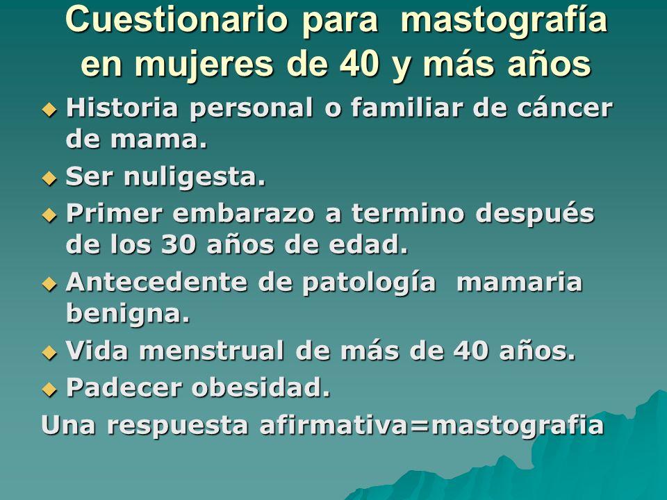Cuestionario para mastografía en mujeres de 40 y más años