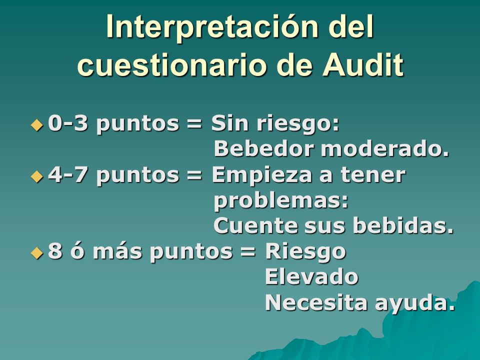 Interpretación del cuestionario de Audit