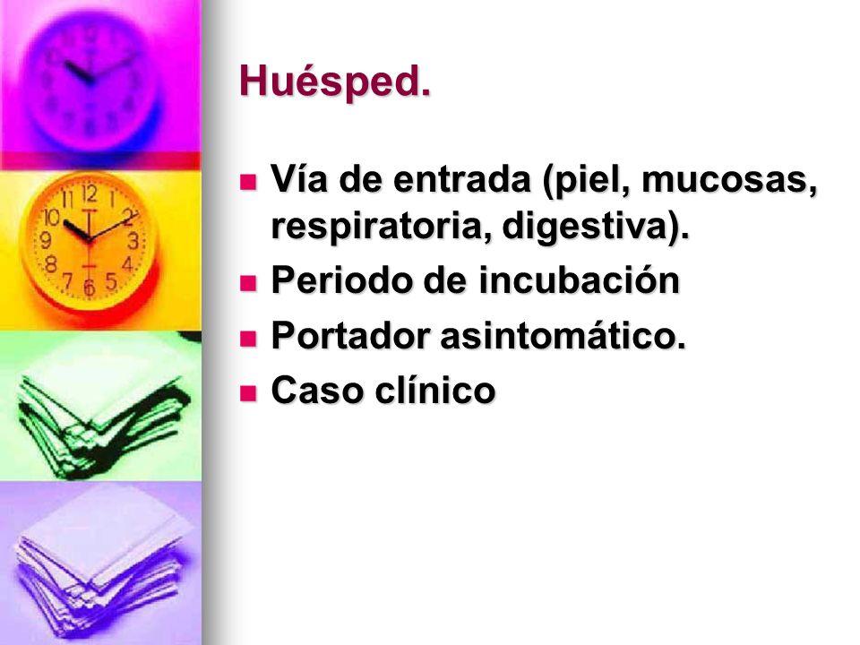 Huésped. Vía de entrada (piel, mucosas, respiratoria, digestiva).
