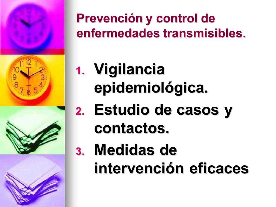 Prevención y control de enfermedades transmisibles.