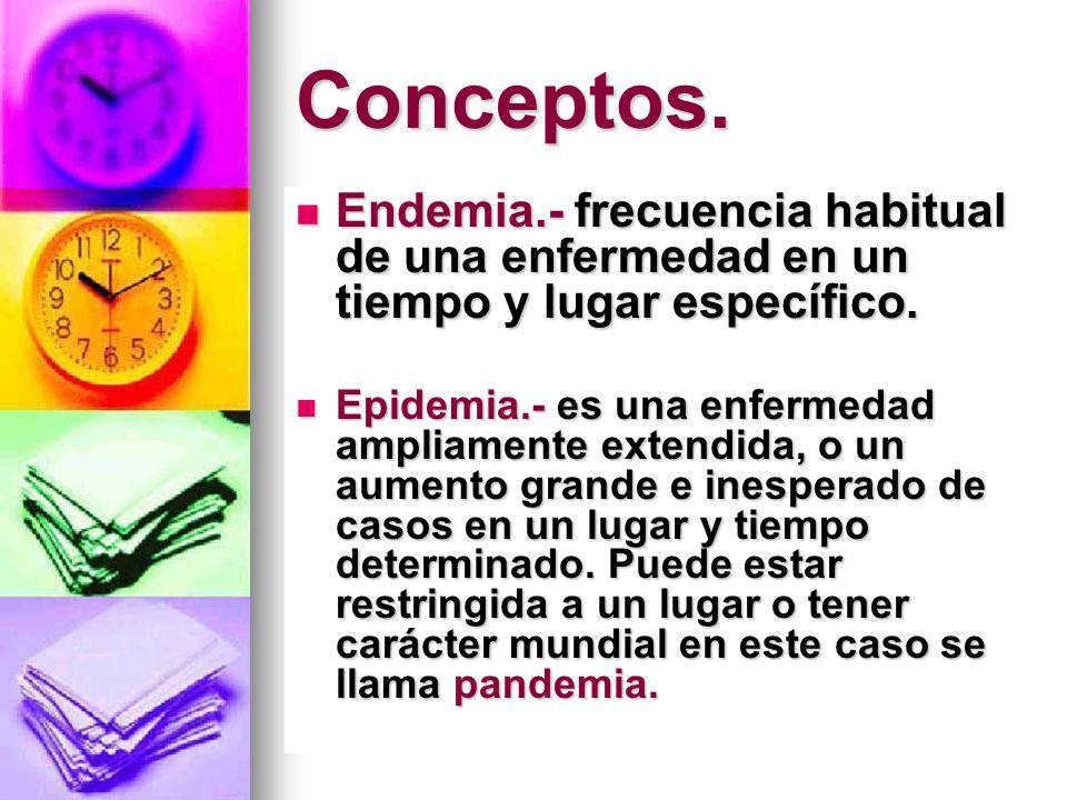 Conceptos. Endemia.- frecuencia habitual de una enfermedad en un tiempo y lugar específico.