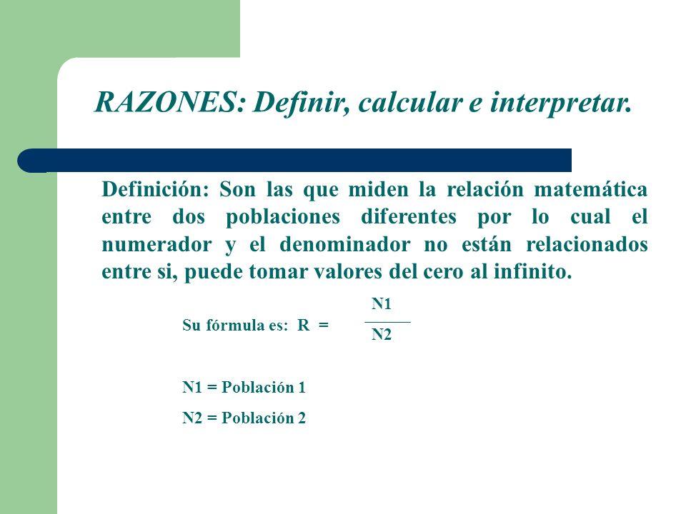 RAZONES: Definir, calcular e interpretar.