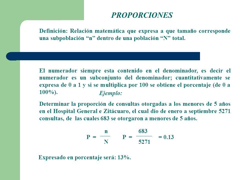 PROPORCIONES Definición: Relación matemática que expresa a que tamaño corresponde una subpoblación n dentro de una población N total.