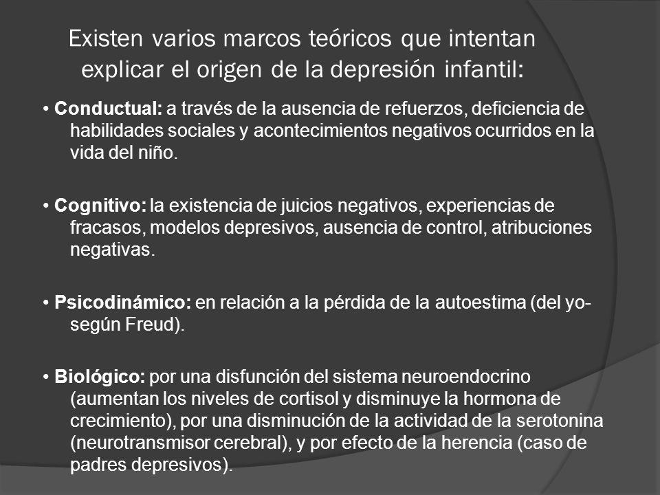 Existen varios marcos teóricos que intentan explicar el origen de la depresión infantil: