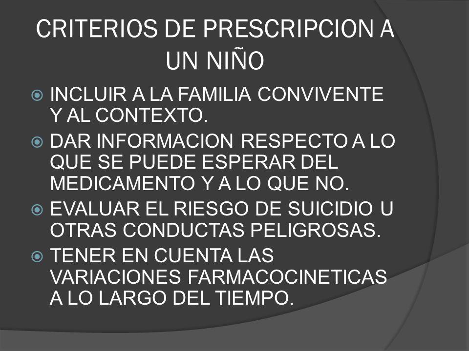 CRITERIOS DE PRESCRIPCION A UN NIÑO