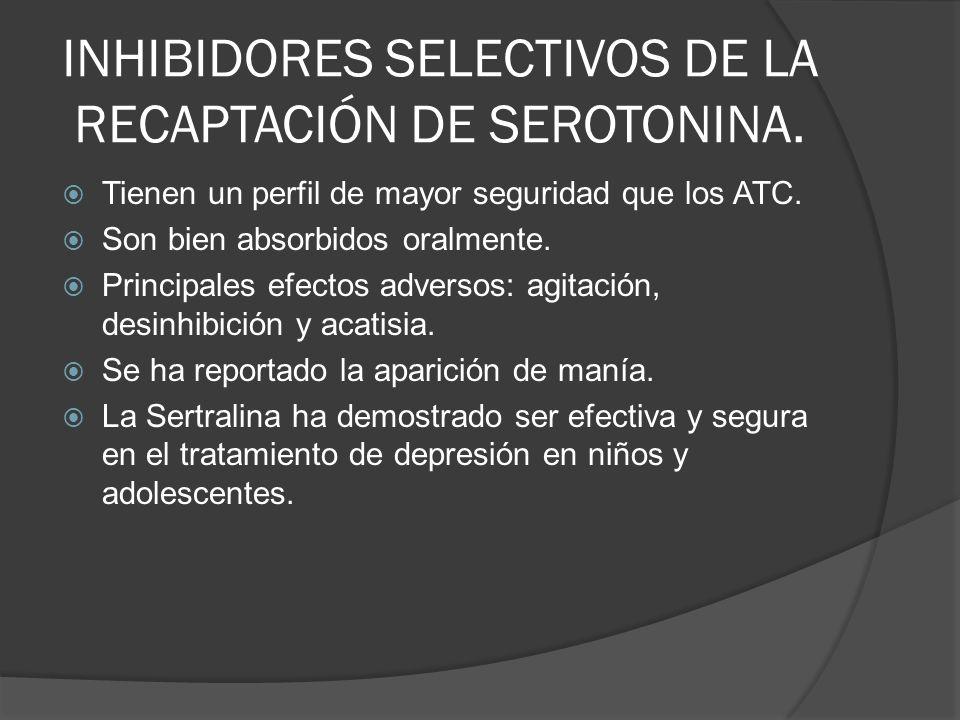 INHIBIDORES SELECTIVOS DE LA RECAPTACIÓN DE SEROTONINA.