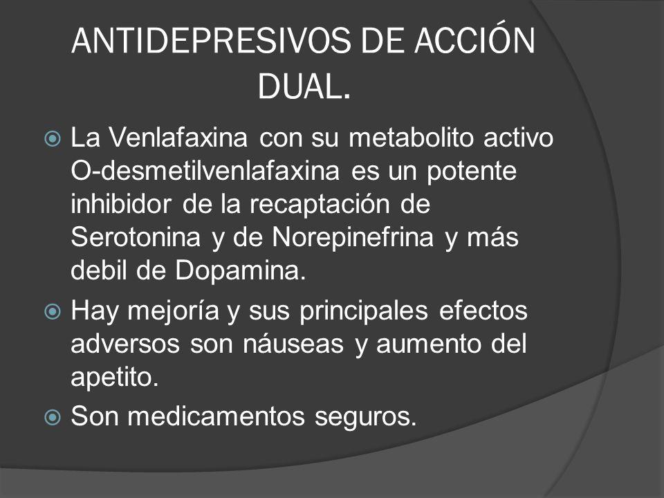ANTIDEPRESIVOS DE ACCIÓN DUAL.