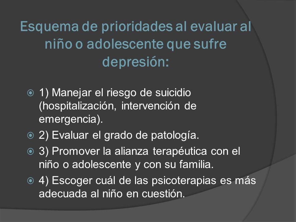 Esquema de prioridades al evaluar al niño o adolescente que sufre depresión:
