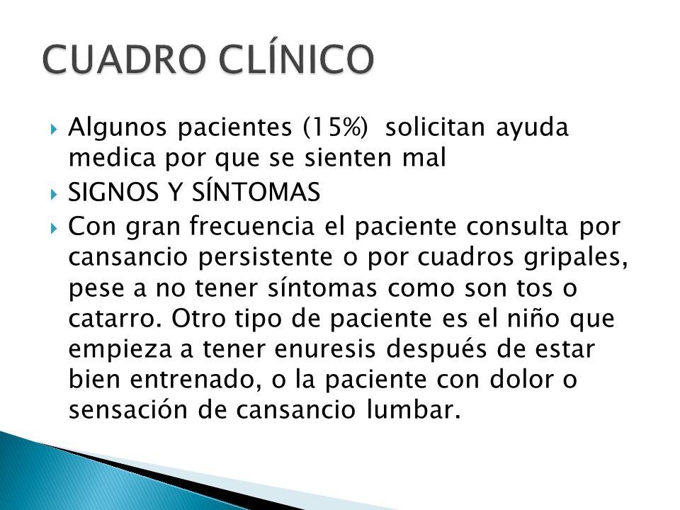 CUADRO CLÍNICO Algunos pacientes (15%) solicitan ayuda medica por que se sienten mal. SIGNOS Y SÍNTOMAS.