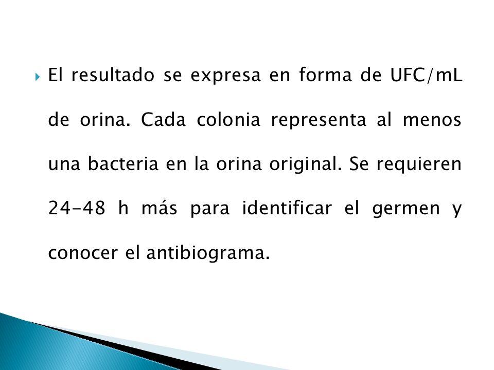 El resultado se expresa en forma de UFC/mL de orina