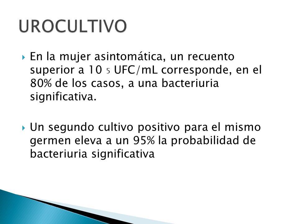 UROCULTIVOEn la mujer asintomática, un recuento superior a 10 5 UFC/mL corresponde, en el 80% de los casos, a una bacteriuria significativa.