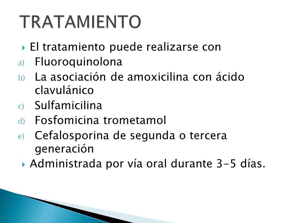 TRATAMIENTO El tratamiento puede realizarse con Fluoroquinolona