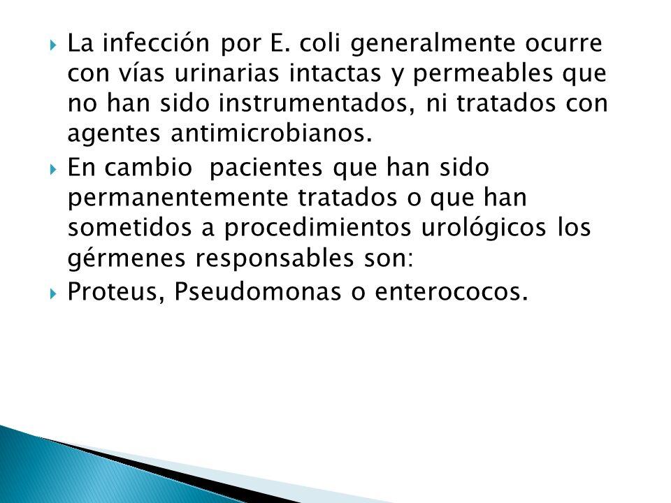 La infección por E. coli generalmente ocurre con vías urinarias intactas y permeables que no han sido instrumentados, ni tratados con agentes antimicrobianos.
