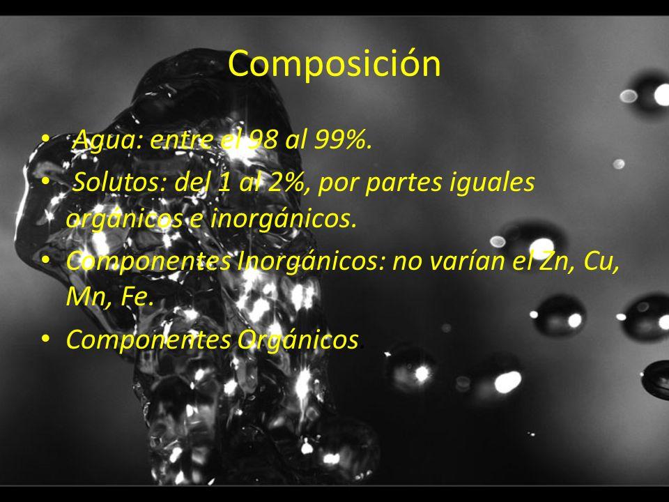 Composición Agua: entre el 98 al 99%.
