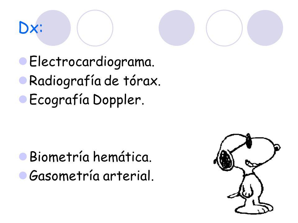 Dx: Electrocardiograma. Radiografía de tórax. Ecografía Doppler.
