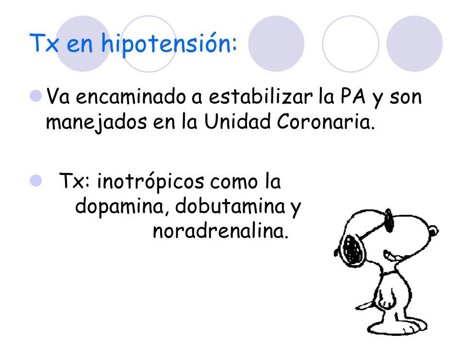Tx en hipotensión: Va encaminado a estabilizar la PA y son manejados en la Unidad Coronaria.