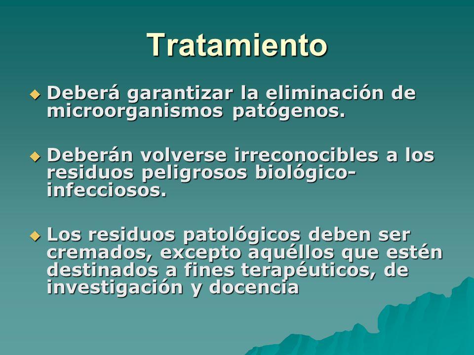 Tratamiento Deberá garantizar la eliminación de microorganismos patógenos.
