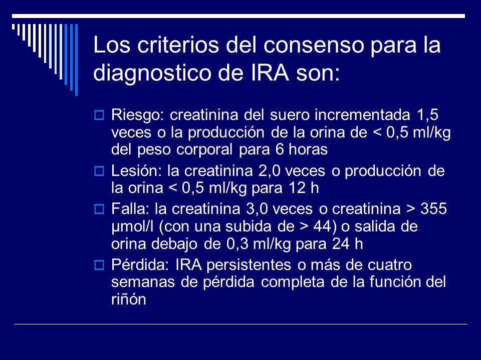 Los criterios del consenso para la diagnostico de IRA son:
