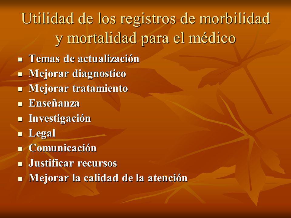 Utilidad de los registros de morbilidad y mortalidad para el médico