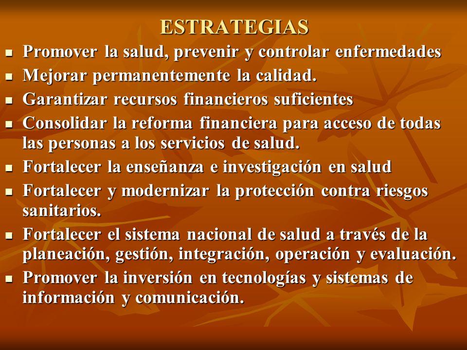 ESTRATEGIAS Promover la salud, prevenir y controlar enfermedades