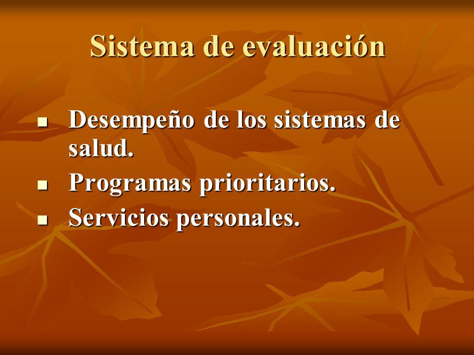 Sistema de evaluación Desempeño de los sistemas de salud.